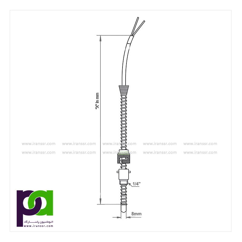 ترموکوپل با سیم رابط و دنده قابل تنظیم